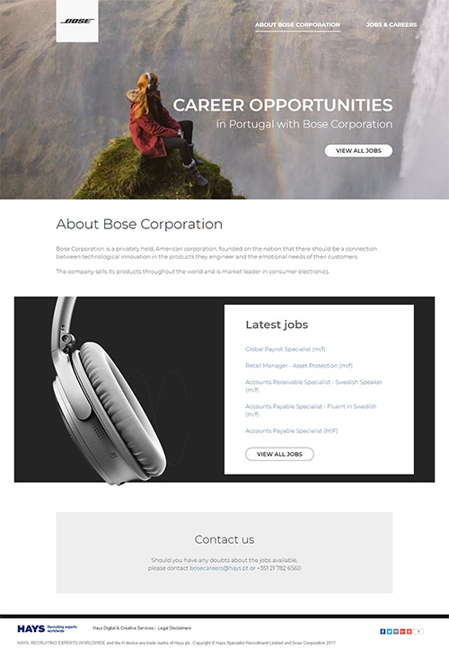 Bose Careers in desktop